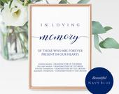 Navy In Loving Memory Sign Template Vertical Remembrance Sign Printable Wedding Memory Sign Elegant Navy Blue Forever in Our Hearts
