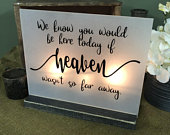 Wedding Memorial Sign We know you would here today if Heaven wasnt so far away Memory Wedding Sign Acrylic Wedding Sign Memorial
