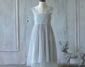 Junior Bridesmaid Dress, Tulle Grey Flower Girl Dress Lace, Gray Maxi Dress, Rosette Dress, Formal Dress (ZK017)