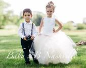 Flower Girl Dress, Ivory Lace Dress, Tulle Dress Wedding Dress Birthday Dress Party Dress Toddler Tutu Dress Girls Dress