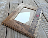 wedding picture frame, personalized wedding gift, engraved wedding picture frame, custom wedding frame, rustic wedding photo frame
