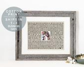 Personalized Photo Frame Wedding Song Lyric Art Framed Song Lyrics Print on Cotton Wedding Anniversary Gift Engagement Gift for Bride Gift