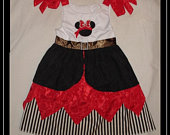 Pirate, Minnie Mouse, Appliqued dress, Pirate dress, back to school dress, girls applique dress, girls applique design, mouse head,Free Ship