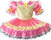 Molly CUSTOM FIT Pink Satin Yellow Bows Adult Little Girl Sissy Dress LEANNE