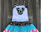 Animal Kingdom Minnie Mouse Girls Giraffe Dress, Minnie Mouse Girls Summer Dress, Minnie Mouse Girl Clothes, Minnie Mouse Party