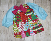 Almost sold out Christmas Treelicious Dress for Baby and girls sz NB, 3m, 6m, 9m, 12m, 18m, 24m/ 2t Girls christmas dress, trees
