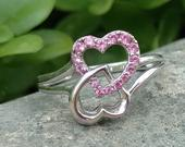 Sterling Silver Double Heart Infinity Pink Stone Ring, Hearts Jewelry, Friendship Love Ring, Sweetheart Gift, Size 6 1/2, Valentines Day