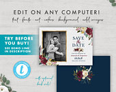 Burgundy Floral Wedding Save the Date Card with Photo FULLY EDITABLE TEMPLATE
