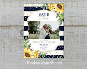 Sunflower Photo Save The Date Card,Navy,Sunflowers,Gold Confetti,Gold Print,Shimmery,Custom,Printed Cards