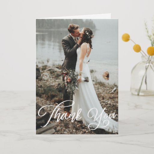 Hand Lettering Photo Wedding Folded Thank You Card