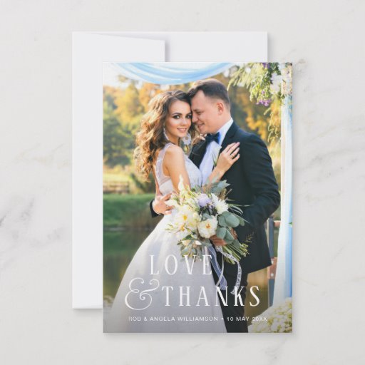 Love & thanks photo overlay wedding Thank You Card