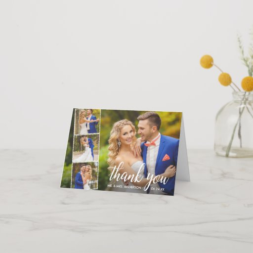 Modern Calligraphy Wedding 4 Photo Collage Note Thank You Card