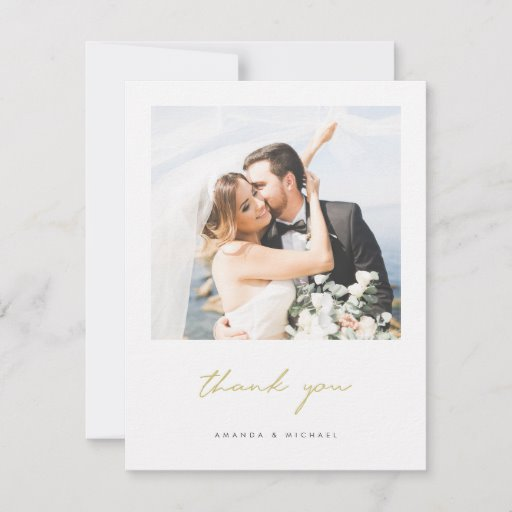 Simple Elegant Modern Gold Script Photo Wedding Thank You Card