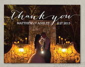 Wedding Thank You Yous Note Notes Photo Magnet Magnets Postcard Postcards Card Cards Modern Elegance Elegant Black and white ivory or color