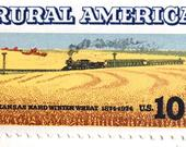 10 Vintage Railroad Postage Stamps // Rural America Steam Engine Train // Midwestern Wheat Field // 10 Cent Stamps for Mailing