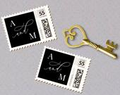 Calligraphy Monogram Wedding Stamp for Photostamps.com, Custom Postage Stamp SN021PS