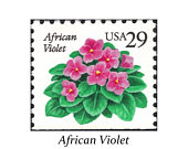 TEN 29c African Violet Stamp Pack of 10 Vintage Unused postage stamps. Southern Bride Southern Wedding postage Stamps for Mailing