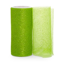 Sparkle Apple Green Sparkling Tulle Roll - 6 X 25yd - Fabric - Width: 6 by Paper Mart
