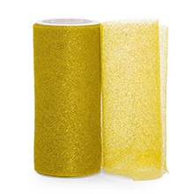 Sparkle Gold Sparkling Tulle Roll - 6 X 25yd - Fabric - Width: 6 by Paper Mart