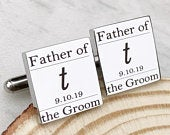 Father of the Groom, Initial Cufflinks, Wedding Cufflinks, Personalized Engraved Cufflinks, Gift from Bride
