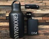 Personalized Groomsmen Gift Set, Groomsman Gift, Personalized Flask, Personalized Knife, Personalized Growler, Cufflinks, Cuff links
