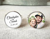 Mens Custom Wedding Cufflinks, Personalized Cuff Links for Groom, Name Cufflinks, Wedding Date Keepsake, Gift For Groom, Gift From Bride