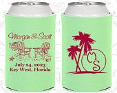 Beach Wedding Favors, Personalized Favors, Palm Trees, Beach Chairs, Monogrammed Gift, Monogram Wedding Favors, Cheap Can Coolers (23)