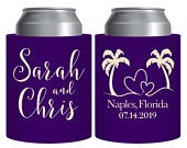 Wedding Can Coolers Personalized Wedding Favors With Palm Trees Thick Foam Beer Holder Wedding Party Gift Beach Wedding Favors Beach Love 1A