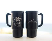 Wedding Favors Beach Wedding 50 Personalized 14oz Travel Mugs Destination Wedding OOT Bag Beach Wedding Favor Cups