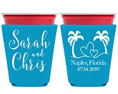 Wedding Cup Holders Personalized Wedding Favors Cup Holder Cup Sleeve Solo Cup Cooler Beach Wedding Favors Beach Love 1A Beach Wedding Decor