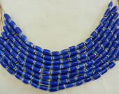 Vintage Hand Made East Indian Four Layer Red, White And Blue Glass Chevron Bead Strands Of Thirteen Pieces On One Yard Of Waxed Cord