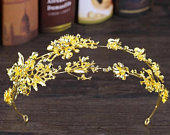 Luxury Gold Flower Tiara And Crown Alloy Headpiece Bridal Headband Vintage Hair Jewelry Double Hairband Weeding Hair Accessories,gold crown