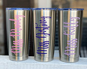 Personalized Tumbler, Insulated Lid 20oz., Wedding Favors, Personalized Cups, Personalized Gifts, Bridesmaid Gifts, Teacher Tumbler