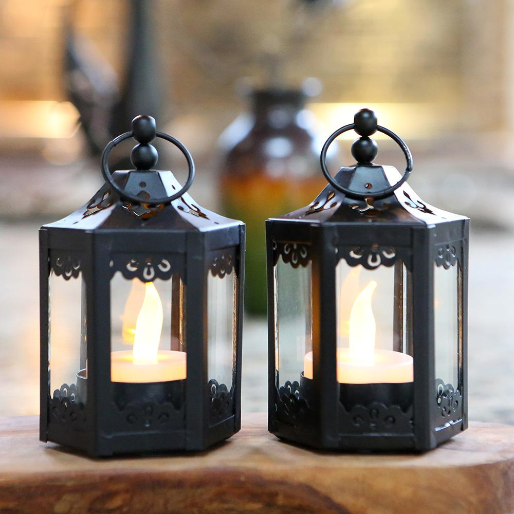 Black Hexagon Mini Lantern (Set of 6)