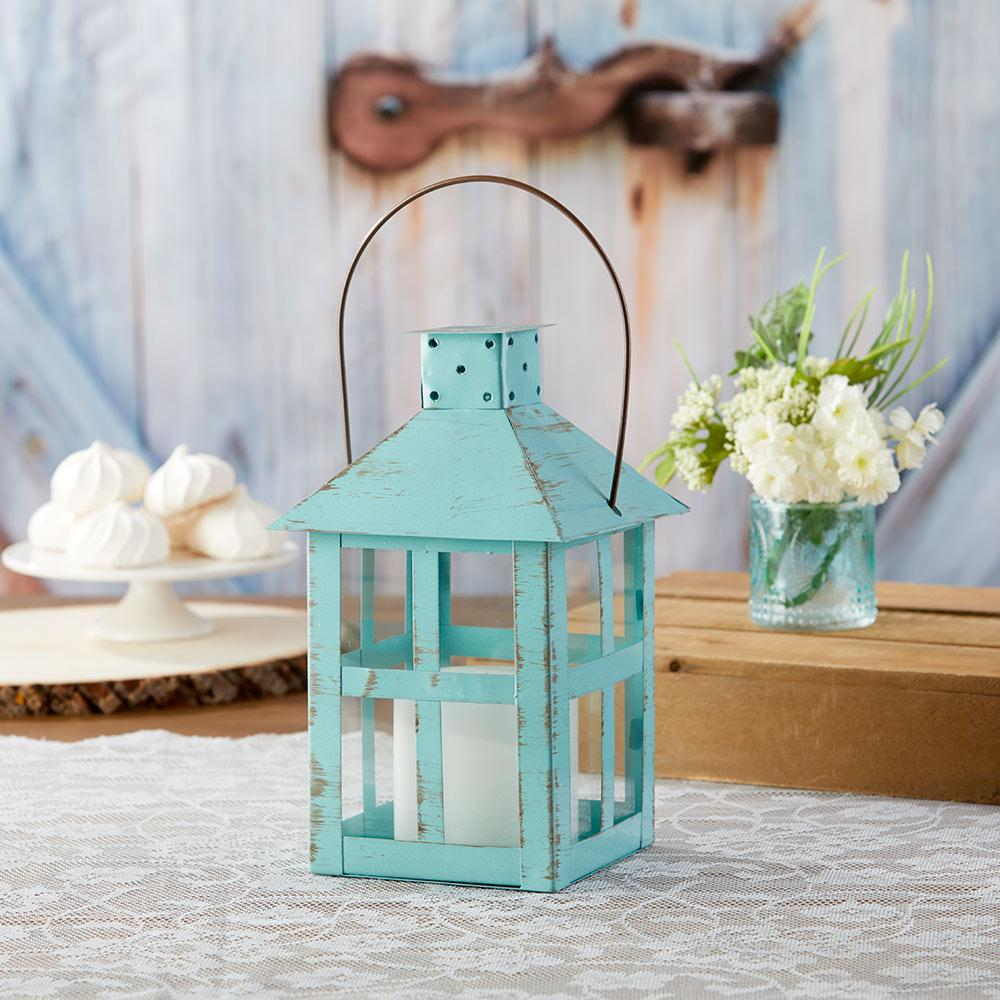 Vintage Blue Distressed Lantern - Extra Large