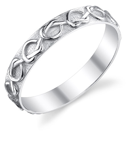 Lover's Knot Heart Wedding Band Ring in 14K White Gold