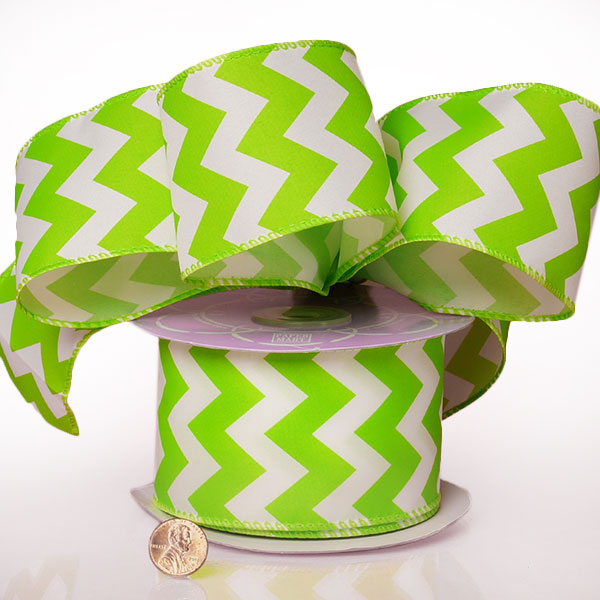 "2 1/2"" X 20 Yards Polyester Lime Chevron Satin Wired Ribbon by Ribbons.com"