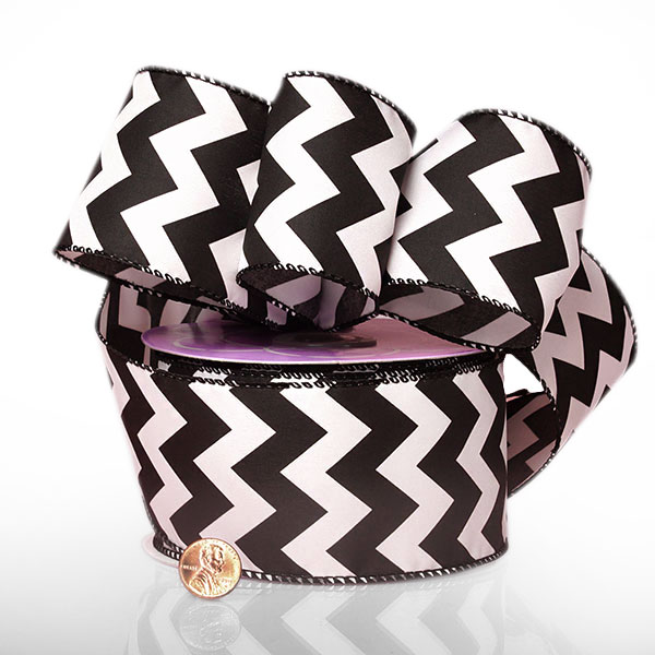 "2 1/2"" X 20 Yards Polyester Black Chevron Satin Wired Ribbon by Ribbons.com"