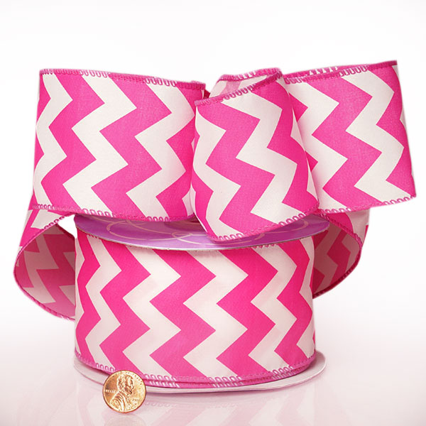 "2 1/2"" X 20 Yards Polyester Fuchsia Chevron Satin Wired Ribbon by Ribbons.com"