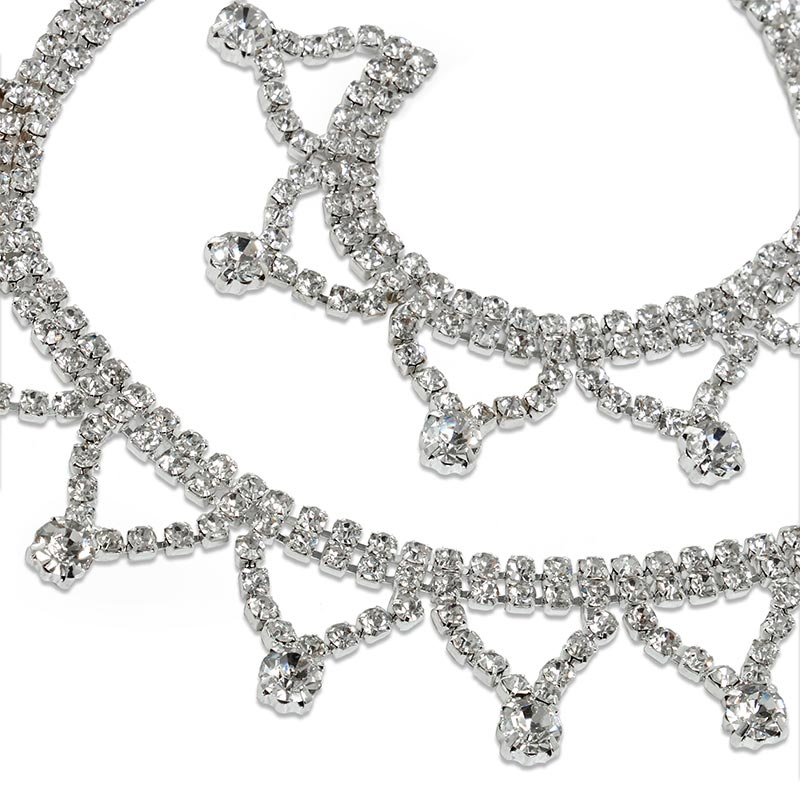 "7/8"" X 3yd Glass Jewel Silver Tiara Rhinestone Chain by Ribbons.com"