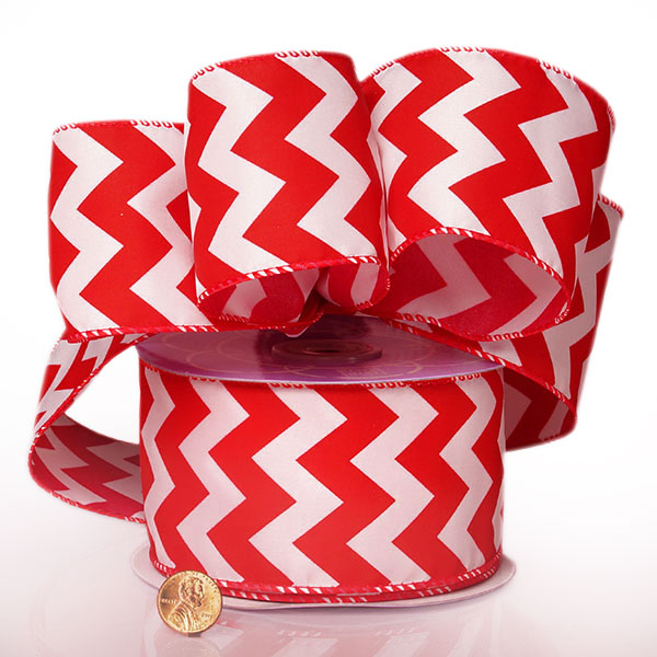 "2 1/2"" X 20 Yards Polyester Red Chevron Satin Wired Ribbon by Ribbons.com"