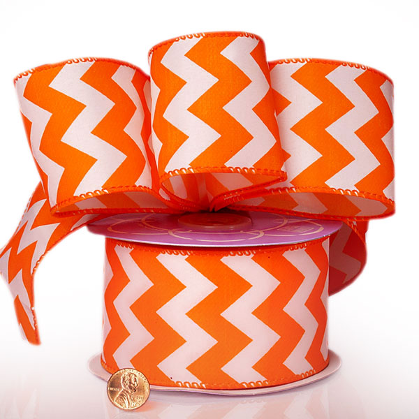 "2 1/2"" X 20 Yards Polyester Orange Chevron Satin Wired Ribbon by Ribbons.com"