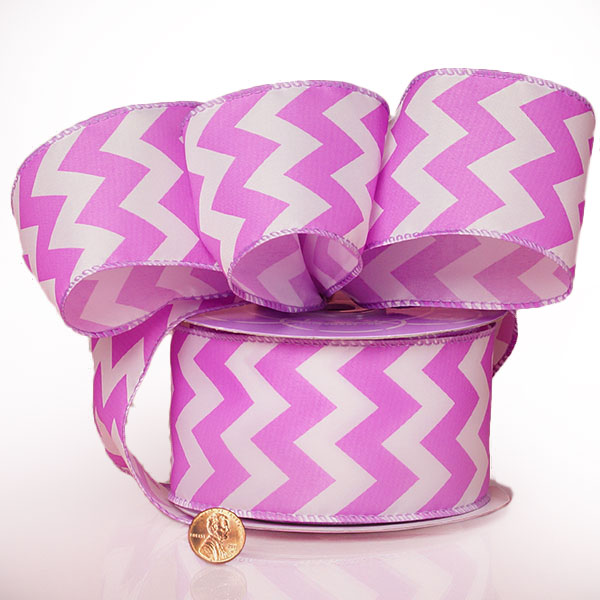 "2 1/2"" X 20 Yards Polyester Lavender Chevron Satin Wired Ribbon by Ribbons.com"