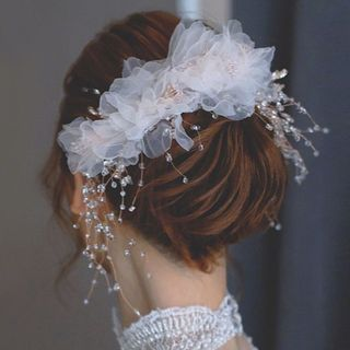 Wedding Faux Crystal Tulle Flower Headband