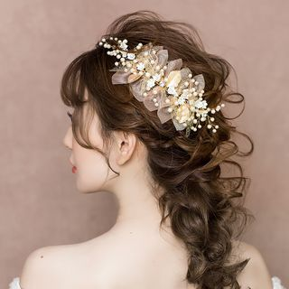 Wedding Faux Pearl Mesh Flower Headband Headband - One Size