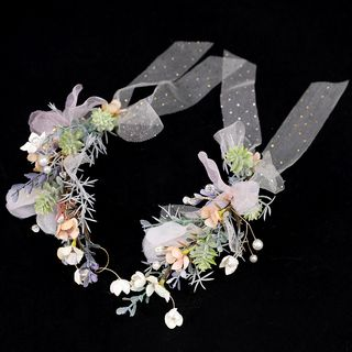 Wedding Set: Flower Headband + Ear Clip White - One Size