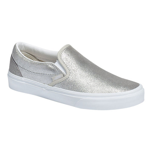 Vans Classic Slip-On, Size: 10 M, Silver/Silver