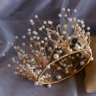 Wedding Set: Faux Pearl Branches Tiara + Fringed Earring Crown & Earrings - Gold - One Size