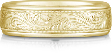 Paisley Engraved Wedding Band in 18K Gold