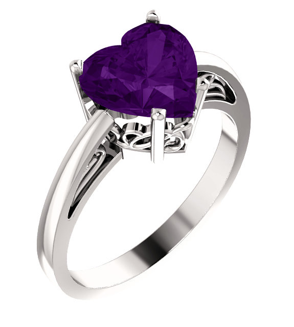 8x8mm Amethyst Heart-Shaped Solitaire Ring
